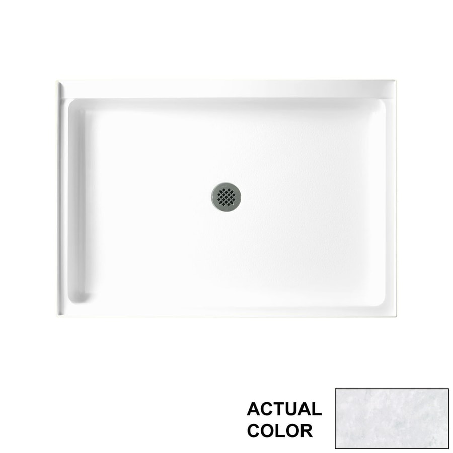 Swanstone Ice Solid Surface Shower Base (Common: 48-in W x 34-in L; Actual: 48.375-in W x 34.1875-in L)