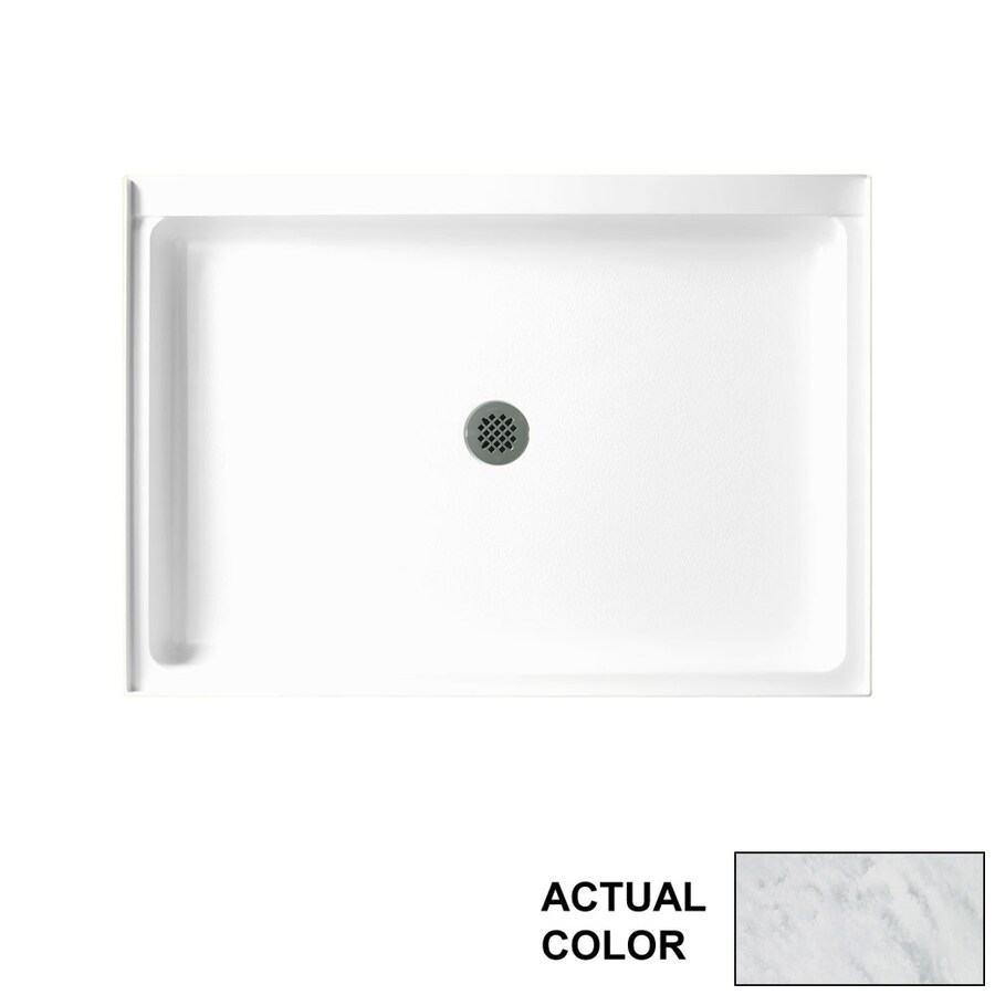 Swanstone Tundra Solid Surface Shower Base (Common: 48-in W x 34-in L; Actual: 48.375-in W x 34.1875-in L)