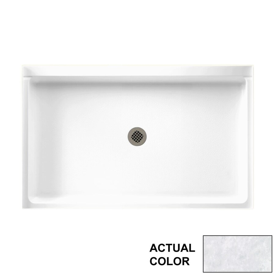 Swanstone Ice Solid Surface Shower Base (Common: 54-in W x 34-in L; Actual: 54.375-in W x 34.1875-in L)