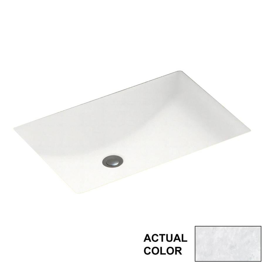 Swanstone Ice Solid Surface Undermount Rectangular Bathroom Sink with Overflow