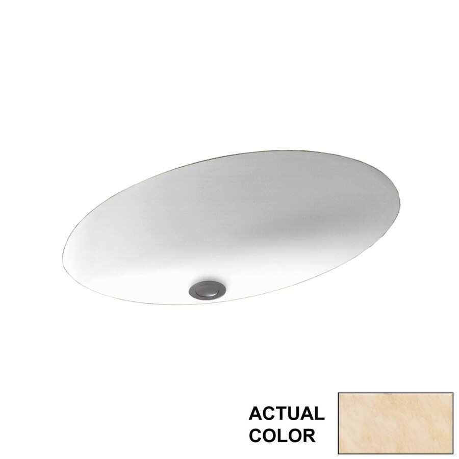 Swanstone Golden Steppe Solid Surface Undermount Oval Bathroom Sink with Overflow