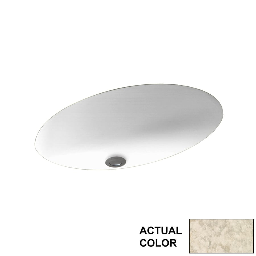 Swanstone Mountain Haze Solid Surface Undermount Oval Bathroom Sink with Overflow