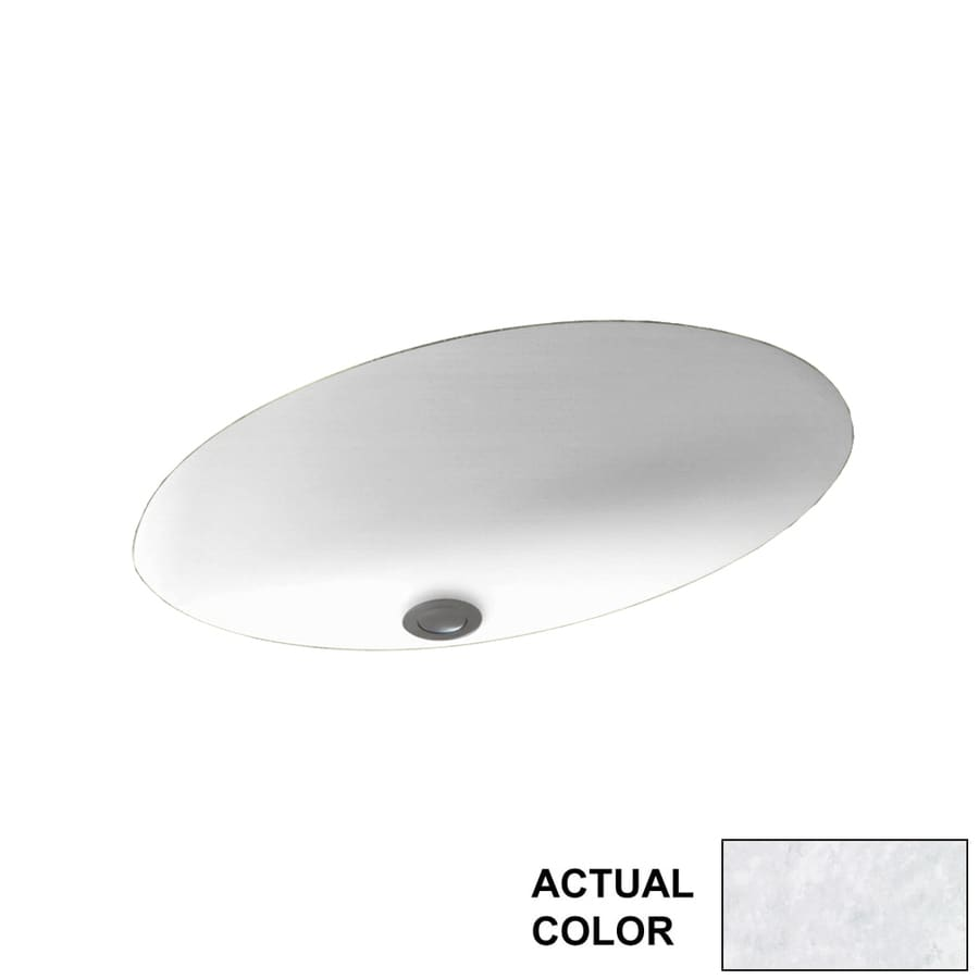 Swanstone Ice Solid Surface Undermount Oval Bathroom Sink with Overflow