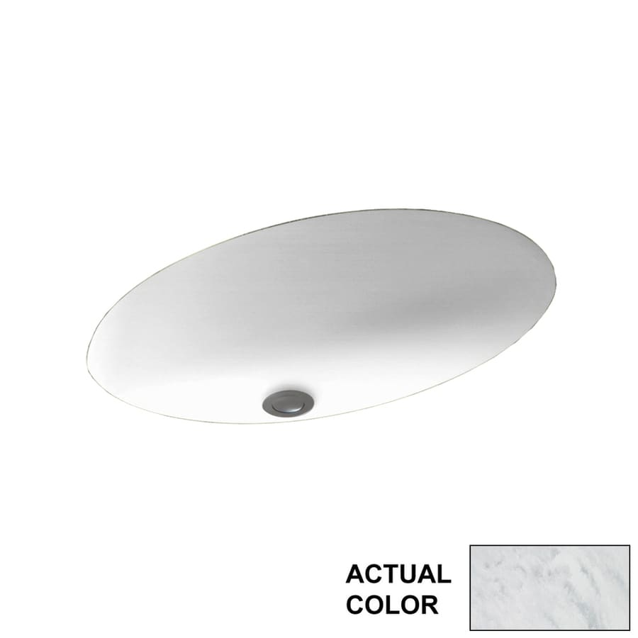 Swanstone Tundra Solid Surface Undermount Oval Bathroom Sink with Overflow