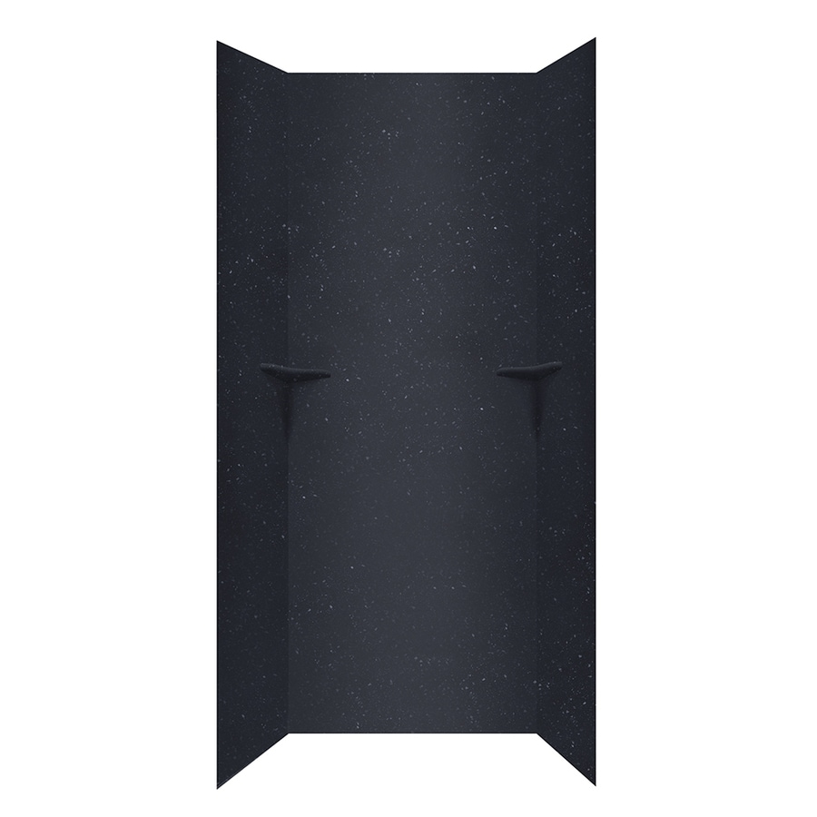 Swanstone Crystal Black Shower Wall Surround Side and Back Walls (Common: 36-in x 36-in; Actual: 96-in x 36-in x 36-in)