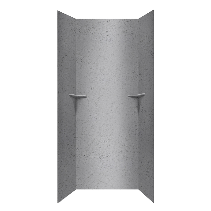 Swanstone Gray Glass Shower Wall Surround Side and Back Walls (Common: 36-in x 36-in; Actual: 96-in x 36-in x 36-in)