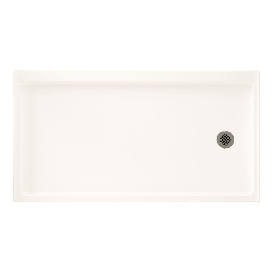 Swanstone Bright White Fiberglass and Plastic Shower Base (Common: 30-in W x 60-in L; Actual: 30-in W x 60-in L)