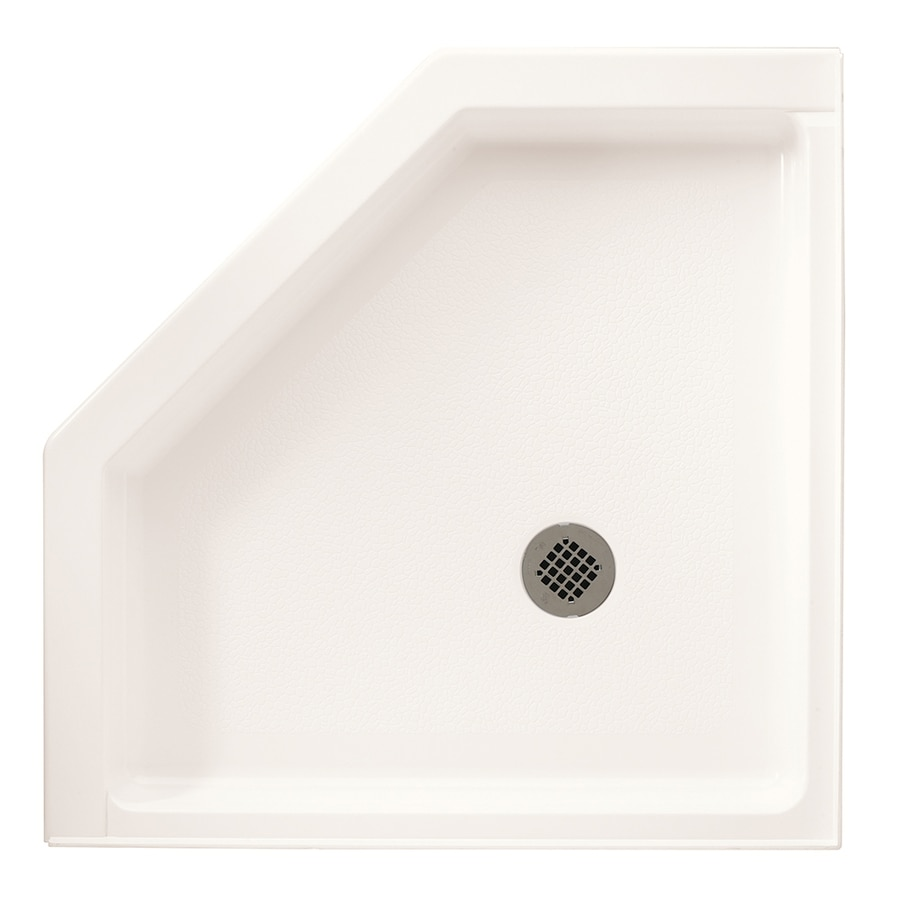 Swanstone 36.125-in L x 36.125-in W Bright White Fiberglass/Plastic Composite Neo-Angle Corner Shower Base