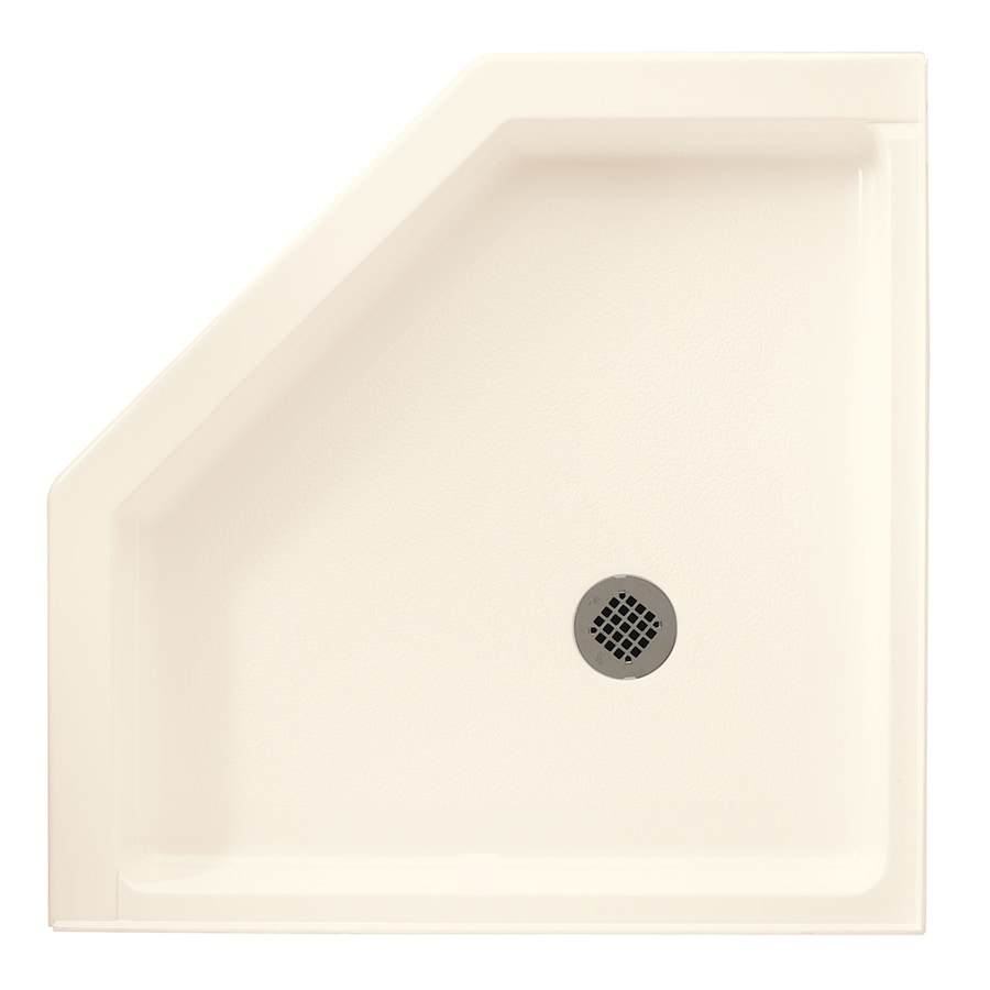 Swanstone 36.125-in L x 36.125-in W Pearl Fiberglass and Plastic Neo-Angle Corner Shower Base