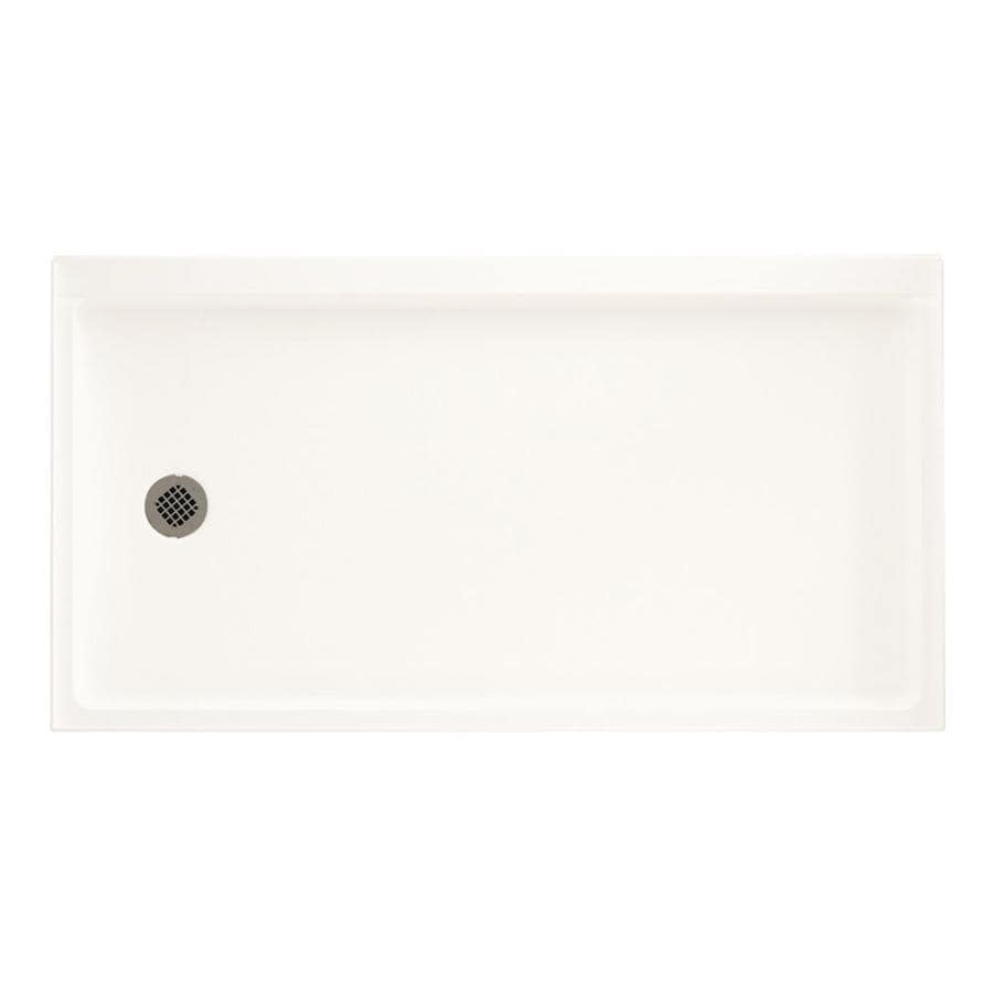 Swanstone Bright White Fiberglass and Plastic Shower Base (Common: 32-in W x 60-in L; Actual: 32.1875-in W x 60.375-in L)