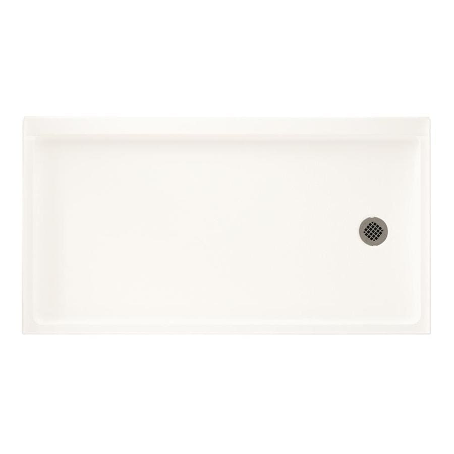 Swanstone Bright White Veritek Shower Base (Common: 32-in W x 60-in L; Actual: 32.1875-in W x 60.375-in L)