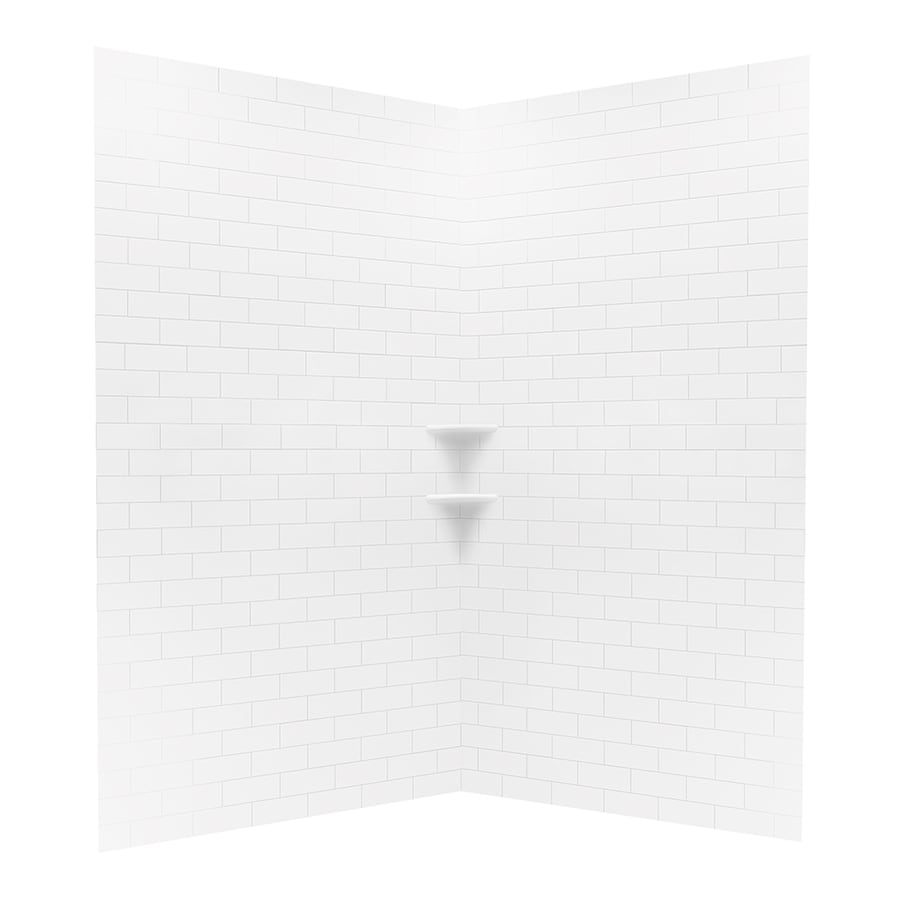 Swanstone Bright White Shower Wall Surround Corner Wall Panel (Common: 48-in x 48-in; Actual: 96-in x 48-in x 48-in)