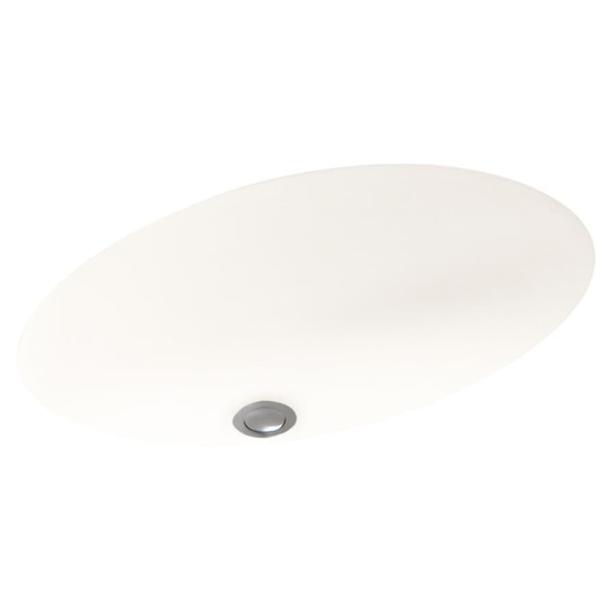 Swanstone Bright White Solid Surface Undermount Oval Bathroom Sink with Overflow