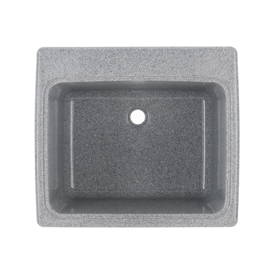 Swanstone 25 In X 22 In 1 Basin Gray Granite Self Rimming