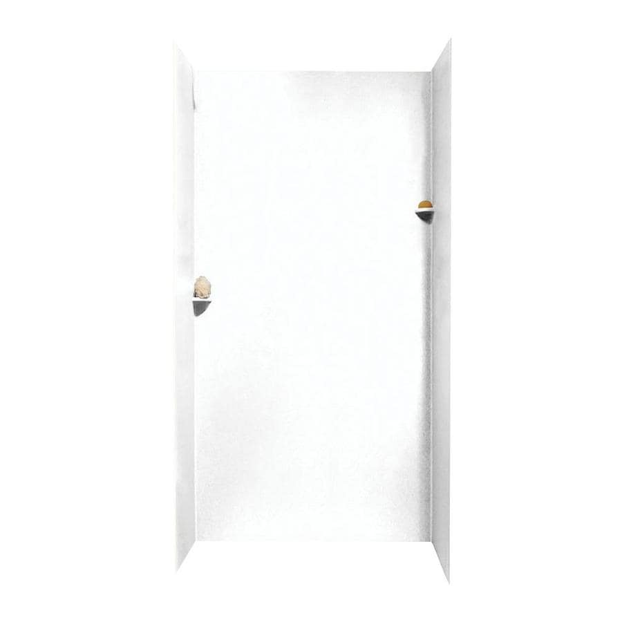 swanstone white shower wall surround side and back wall kit common 48in