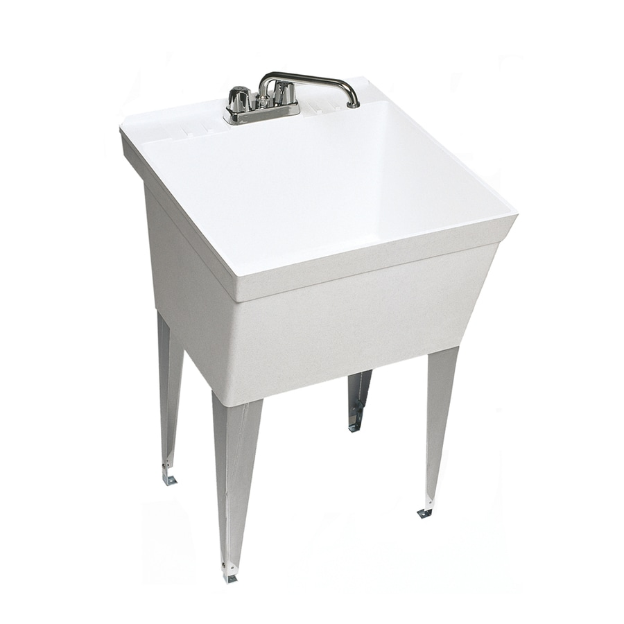 Swanstone 21.625-in x 23.375-in 1-Basin White Freestanding Composite Utility Tub with Drain