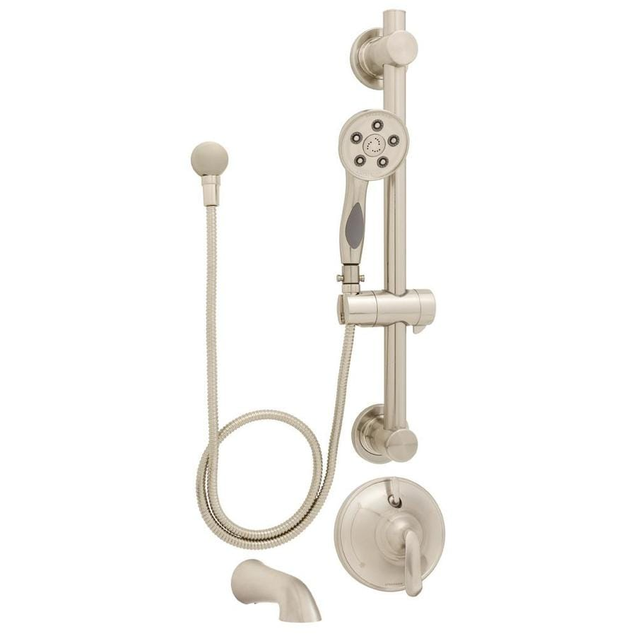 Speakman Caspian Brushed Nickel 1-Handle Commercial Bathtub and Shower Faucet with Valve