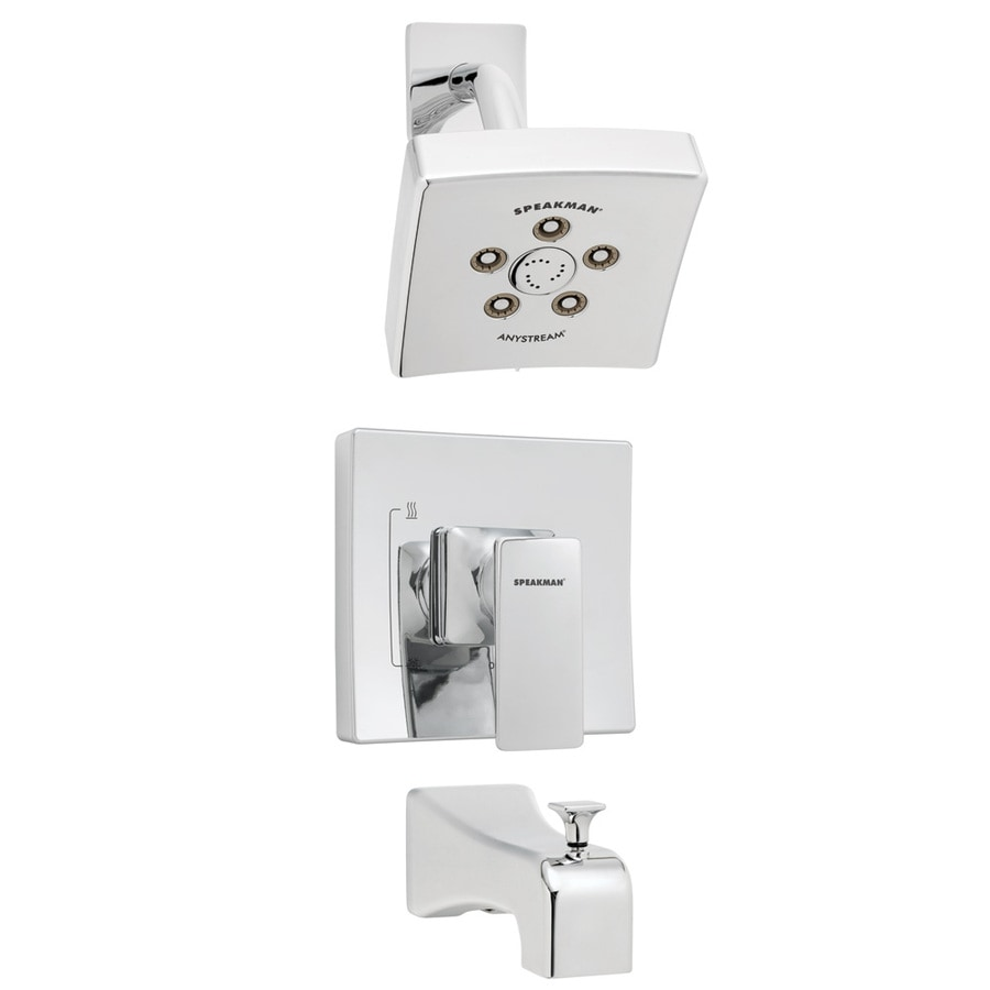 Speakman The Edge Polished Chrome 1-Handle Bathtub and Shower Faucet with Multi-Function Showerhead