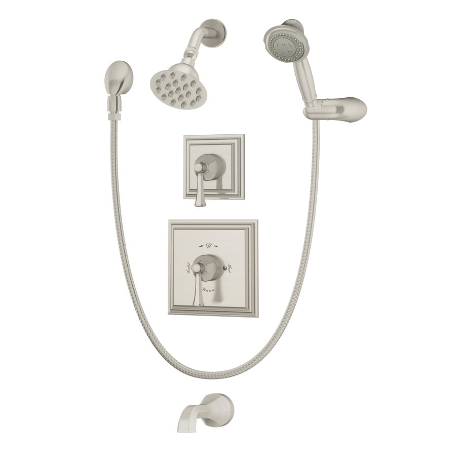 Symmons Canterbury Satin Nickel 2-handle Commercial Bathtub And Shower Faucet with Valve