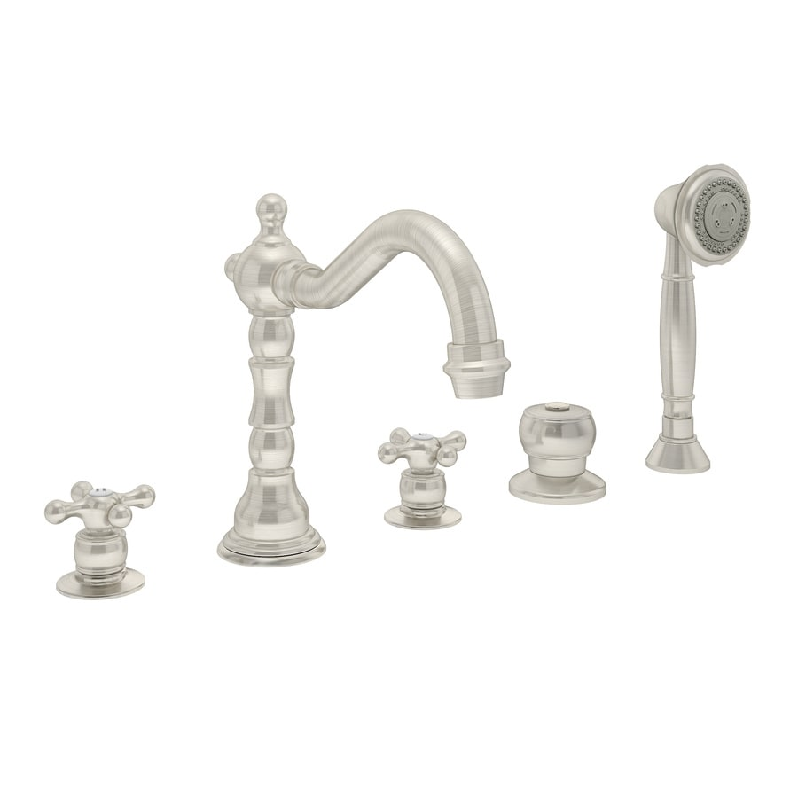 Symmons Carrington Satin Nickel 2-handle Fixed Deck Mount Commercial Bathtub Faucet