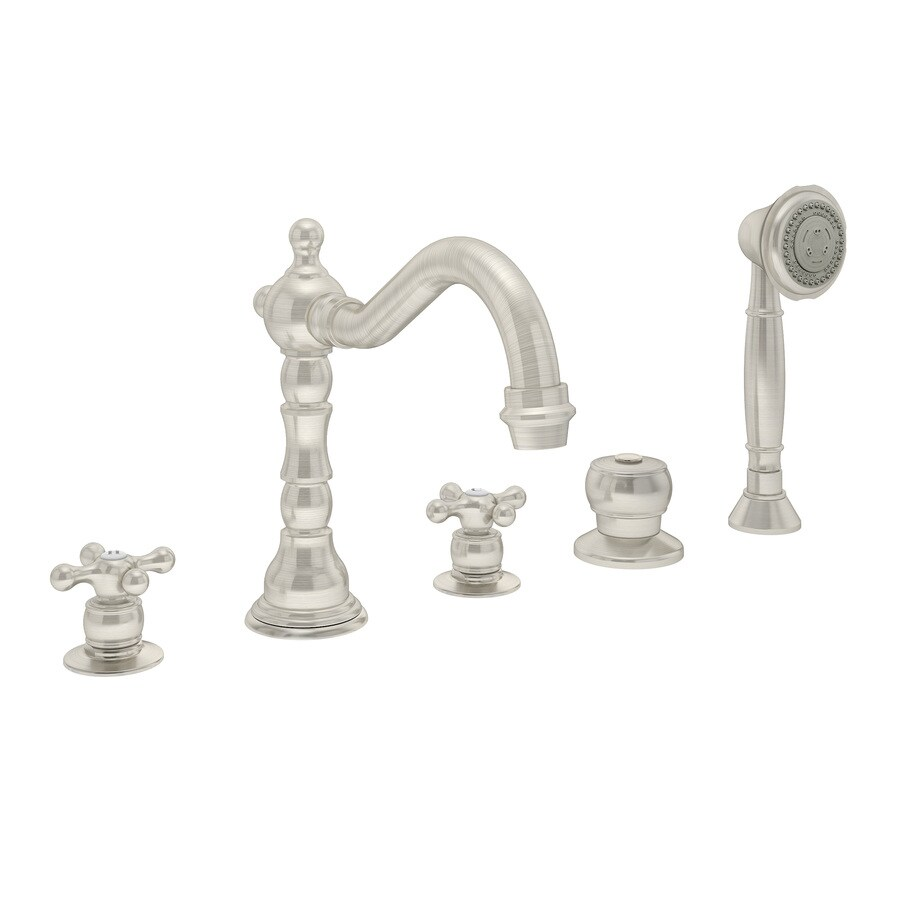 Symmons Carrington Satin Nickel 2-Handle Fixed Deck Mount Tub Faucet