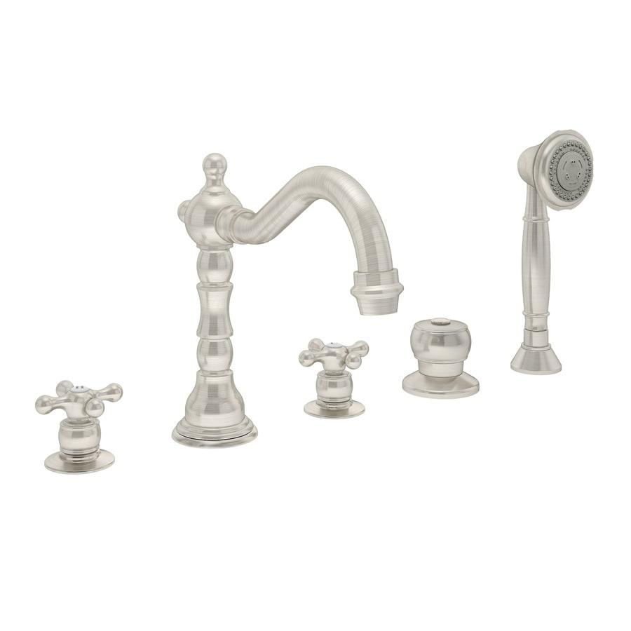 Symmons Carrington Satin Nickel 2-handle Fixed Deck Mount Commercial Bathtub Faucet
