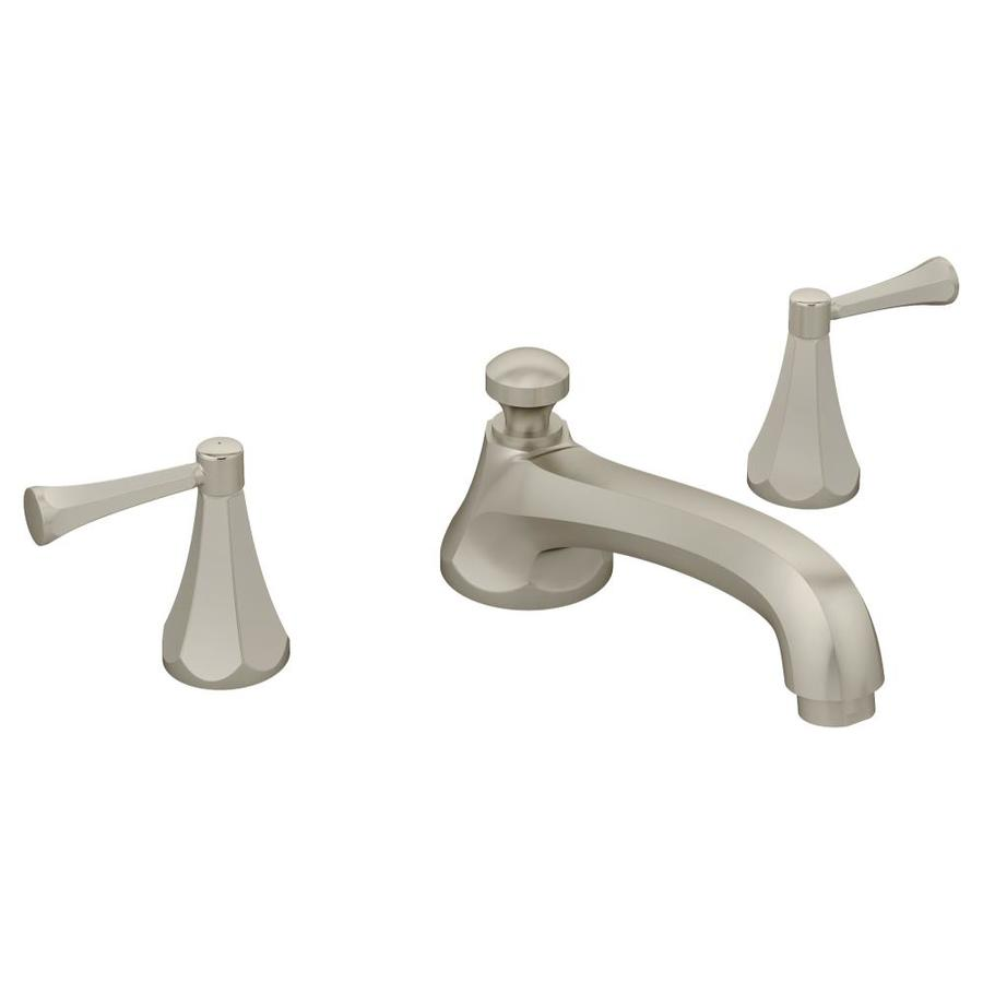 satin nickel 2 handle adjustable deck mount tub faucet at