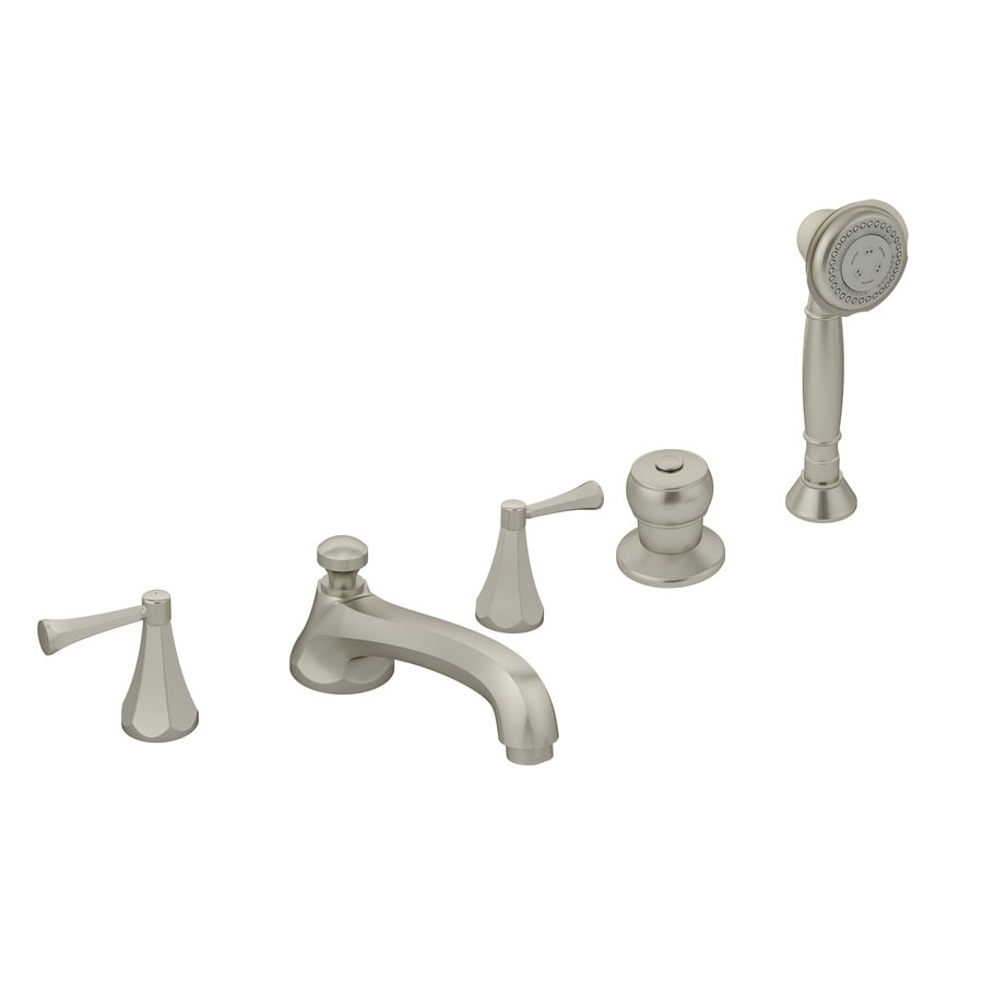 Symmons Canterbury Satin Nickel 2-Handle Adjustable Deck Mount Tub Faucet