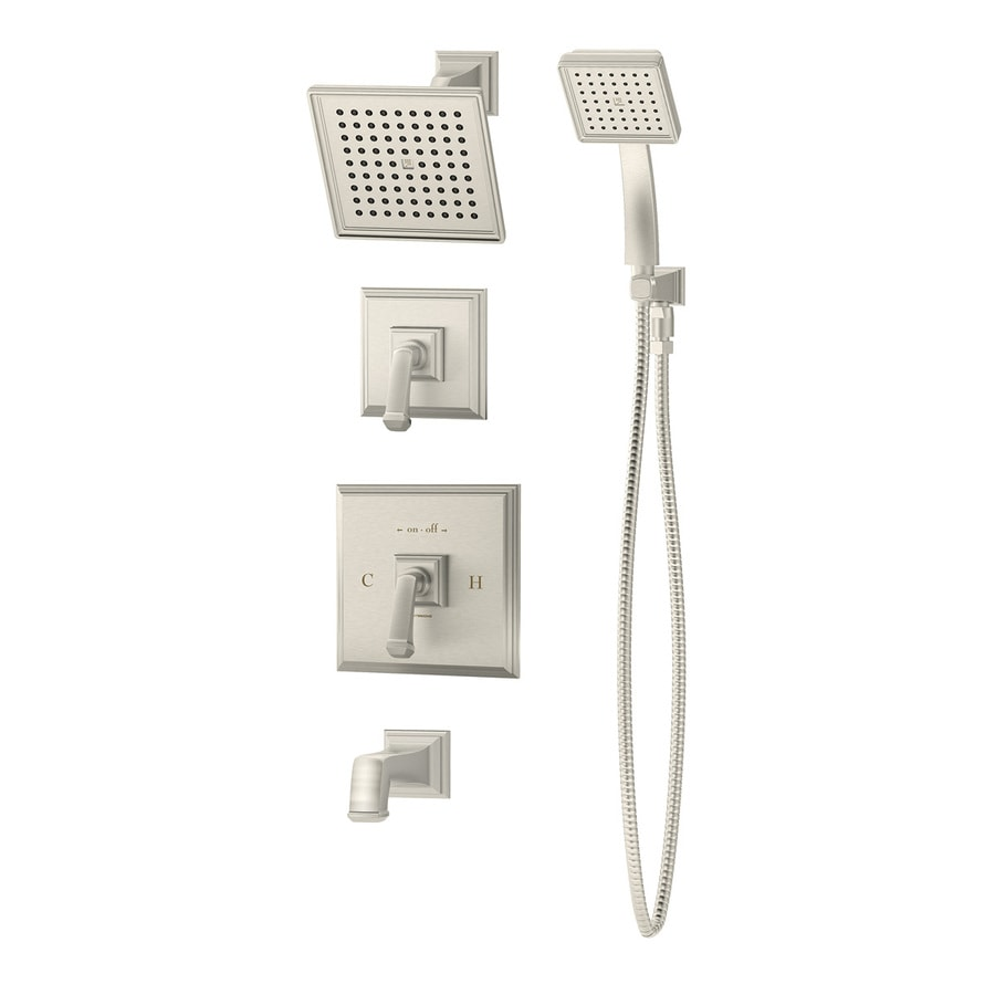 Symmons Oxford Satin Nickel 2-Handle Commercial Bathtub and Shower Faucet with Valve