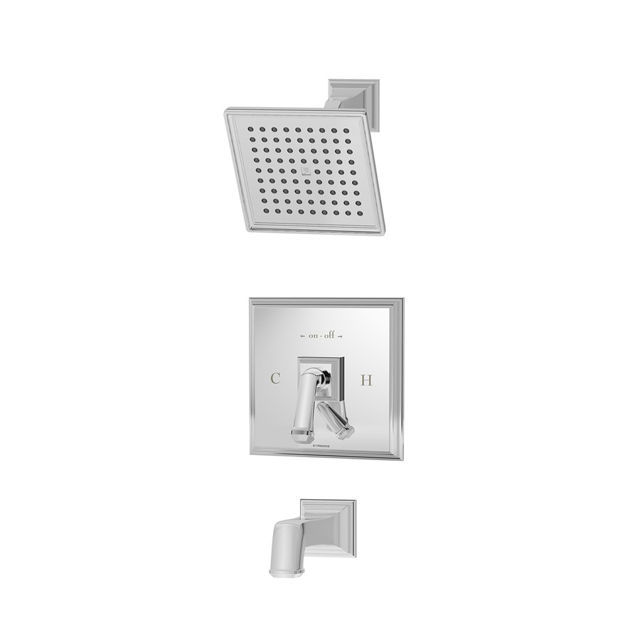 Symmons Oxford Chrome 1-Handle Bathtub and Shower Faucet with Single Function Showerhead