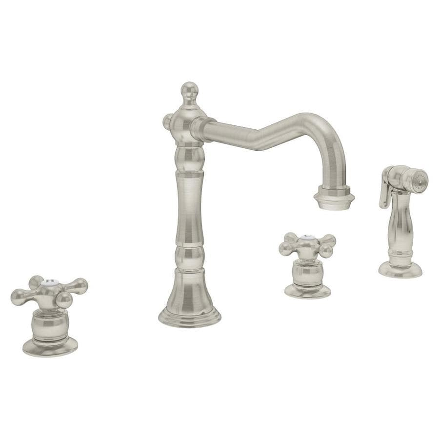 Symmons Carrington Satin Nickel 2-Handle Deck Mount High-Arc Commercial Kitchen Faucet