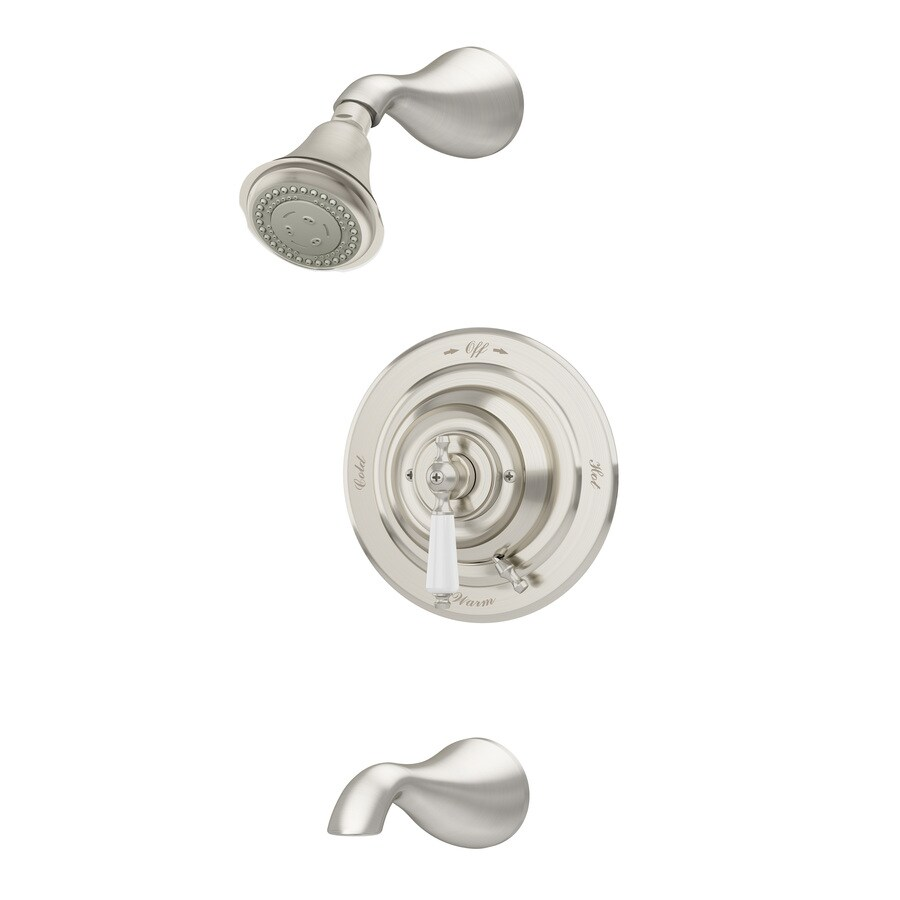 Symmons Carrington Satin Nickel 1-handle Commercial Bathtub And Shower Faucet with Valve