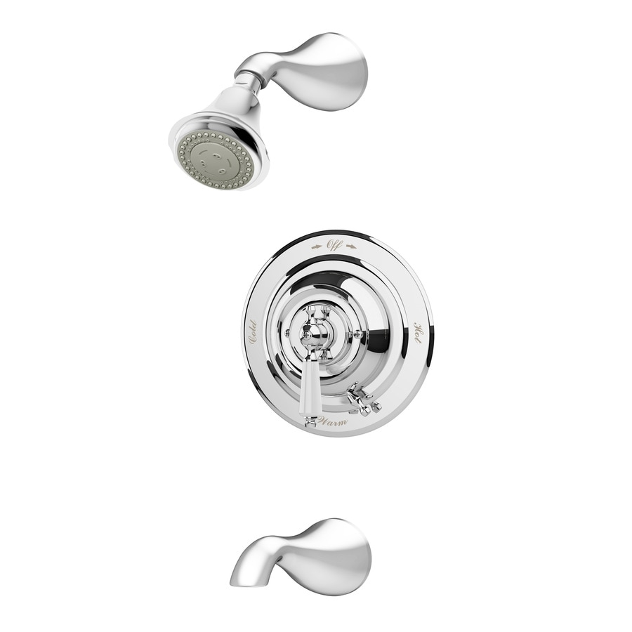 Symmons Carrington Chrome 1-Handle Bathtub and Shower Faucet with Multi-Function Showerhead