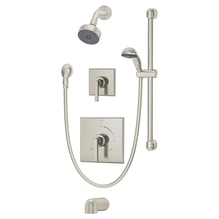 Symmons Duro Satin Nickel 1-Handle Bathtub and Shower Faucet with Single Function Showerhead