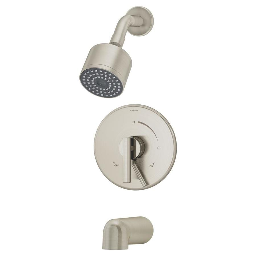 Symmons Dia Satin Nickel 1-Handle Bathtub and Shower Faucet Trim Kit with Single Function Showerhead