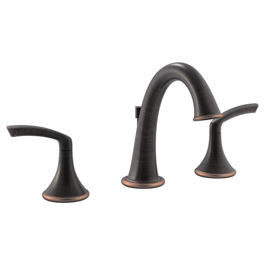 Symmons Elm Seasoned Bronze 2-Handle Widespread WaterSense Bathroom Faucet (Drain Included)