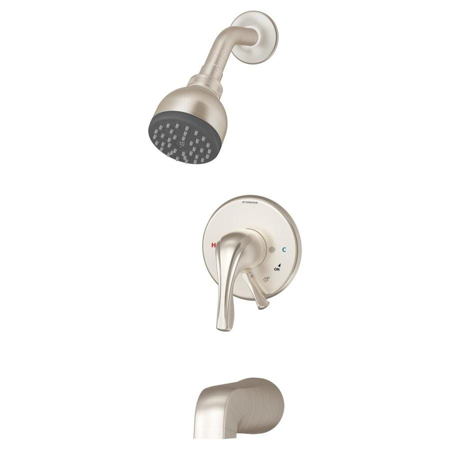 Symmons Origins Satin Nickel 1-Handle Bathtub and Shower Faucet Trim Kit with Single Function Showerhead
