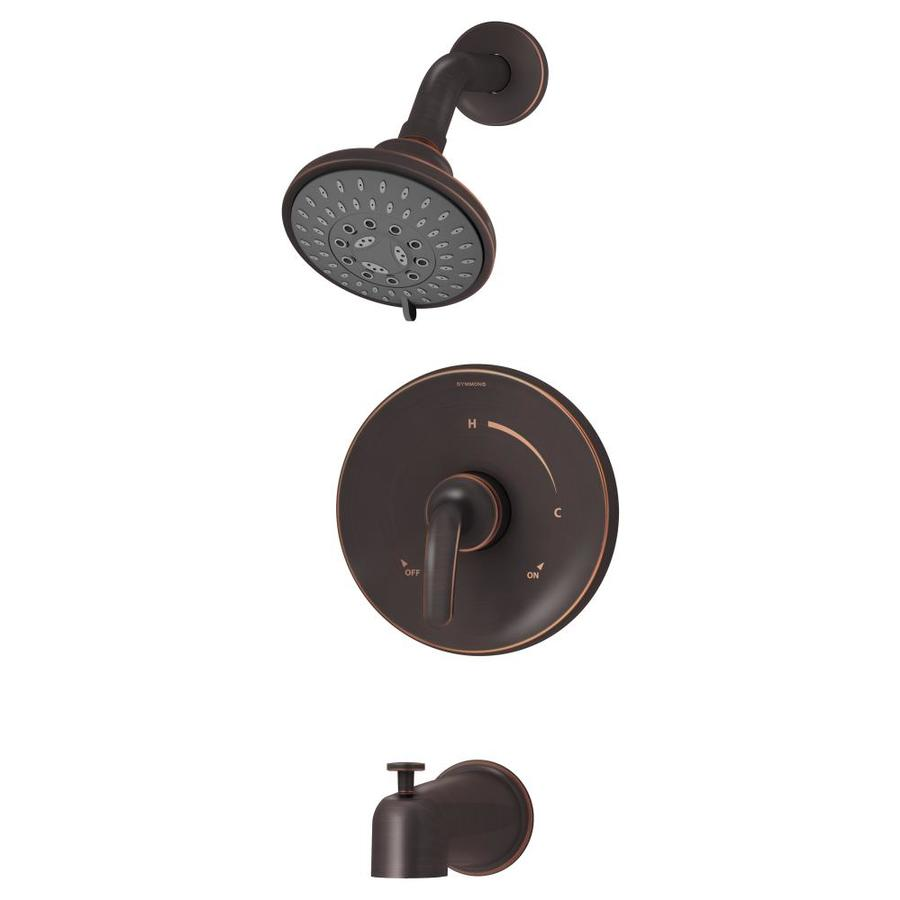 Symmons Elm Seasoned Bronze 1-Handle Bathtub and Shower Faucet Trim Kit with Multi-Function Showerhead