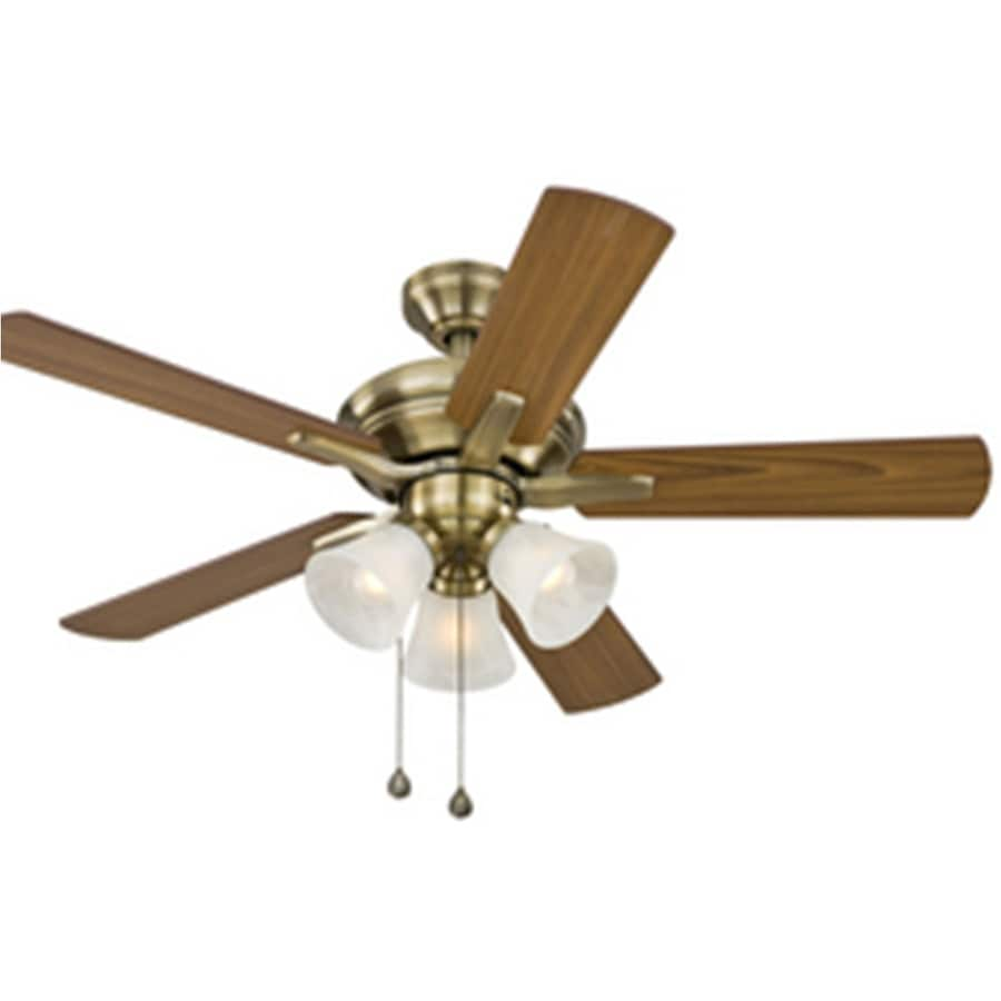Harbor Breeze 42-in Antique Brass Downrod Mount Indoor Ceiling Fan with Light Kit