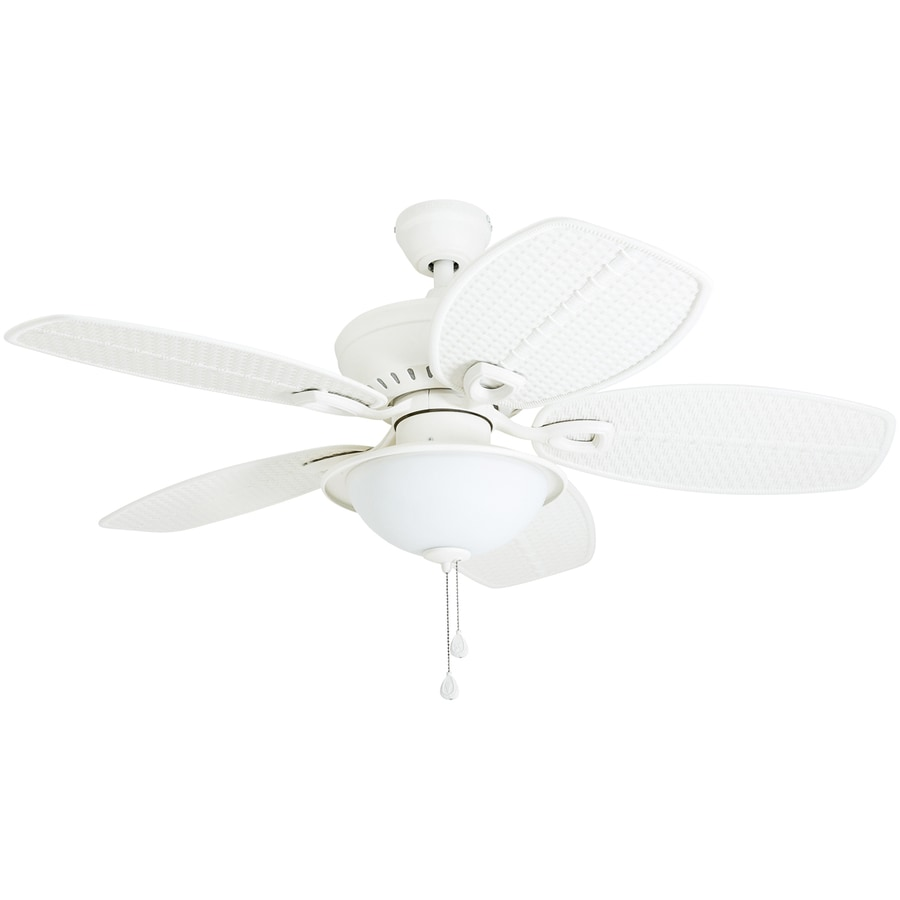 Harbor Breeze Cedar Shoals 44 In White Indoor Outdoor Ceiling Fan With Light Kit
