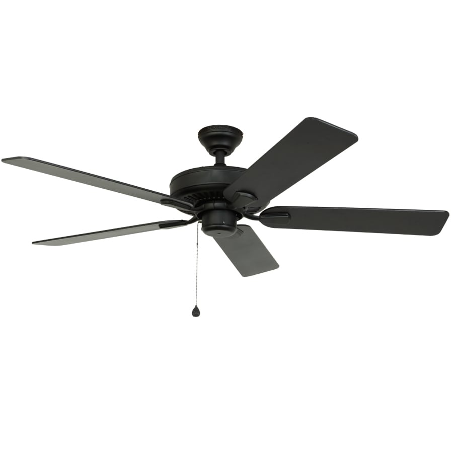 Harbor Breeze Classic 52-in Matte Black Downrod Mount Indoor/Outdoor Ceiling Fan ENERGY STAR