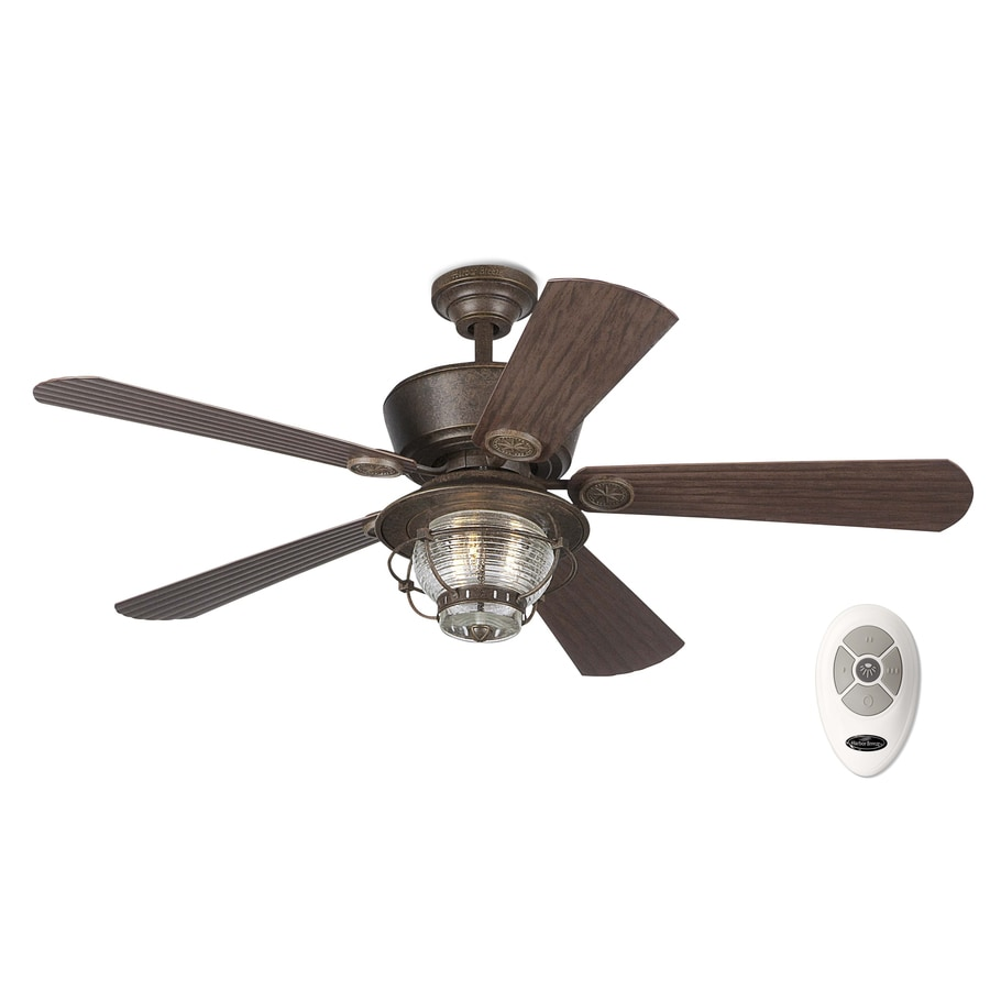 Harbor Breeze Merrimack 52-in Antique Bronze Indoor/Outdoor Downrod Mount Ceiling Fan with Light Kit and Remote