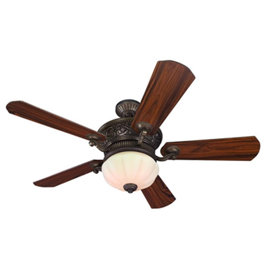 Harbor Breeze Wakefield 52-in Specialty Bronze Downrod Mount Indoor Ceiling Fan with Light Kit and Remote