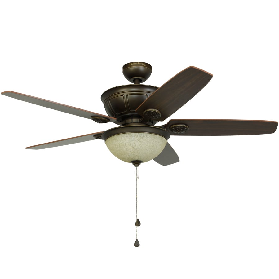 Harbor Breeze Newhaven 48-in Light Oil-Rubbed Bronze Downrod Mount Indoor Ceiling Fan with Light Kit