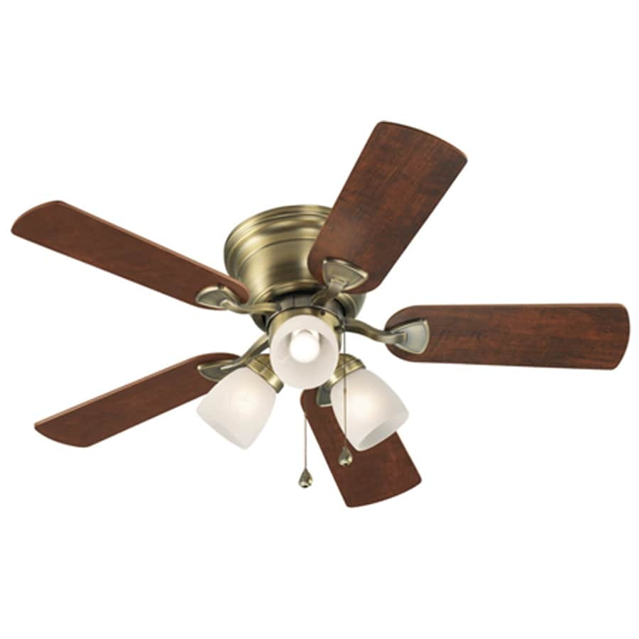 Harbor Breeze Centreville 42-in Antique Brass Flush Mount Indoor Ceiling Fan with Light Kit