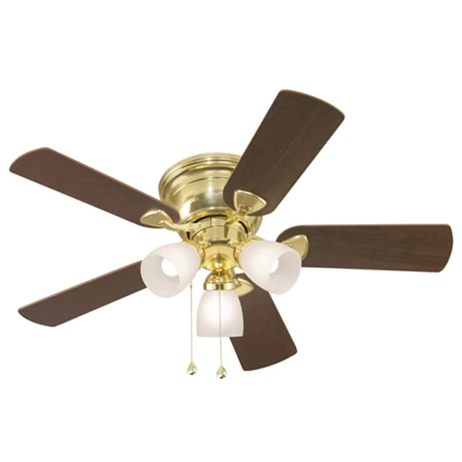 Harbor Breeze Centreville 42-in Polished Brass Flush Mount Indoor Ceiling Fan with Light Kit