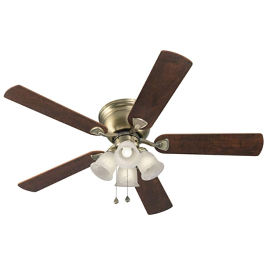 Harbor Breeze Centreville 52-in Antique Brass Flush Mount Indoor Ceiling Fan with Light Kit