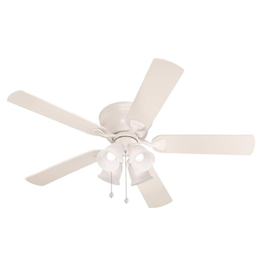harbor breeze centreville 52in white indoor flush mount ceiling fan with light kit