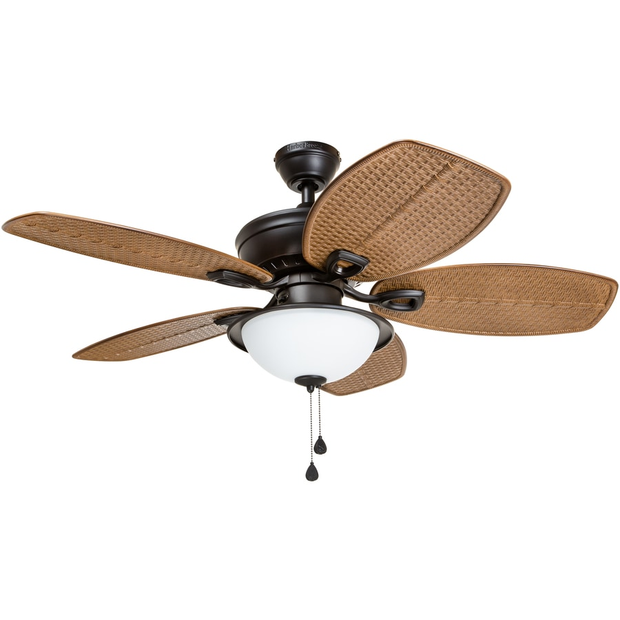 Harbor Breeze Cedar Shoals 44-in Bronze Indoor/Outdoor Downrod Mount Ceiling Fan with Light Kit
