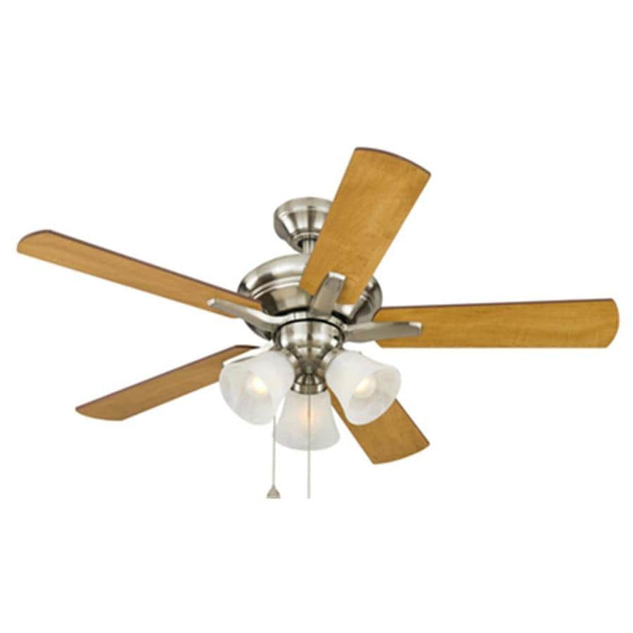 Harbor Breeze Lansing 42-in Brushed Nickel Downrod Mount Indoor Ceiling Fan with Light Kit